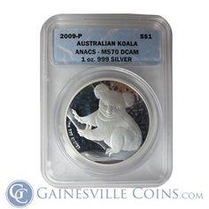 2009 1 oz Australian Silver #Koala ANACS MS70 http://www.gainesvillecoins.com/