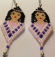 Native American Beaded Earrings Seminole Girl by jstinson on Etsy, $18.00