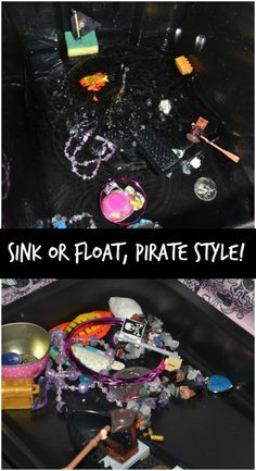 sink or float pirate style! Preschool Pirate Theme, Pirate Activities, Eyfs Activities, Preschool Science, Activities For Kids, Kid Science, Physical Science, Motor Activities, Science Education