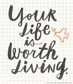 """lettering by flora chang, based on the book title """"Your Life Is Worth Living"""" by  Fulton J. Sheen"""