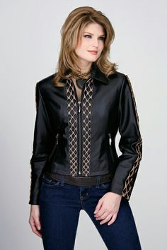 Rusty Spur Couture Cripple Creek Antique Black Zip Front Jacket with Leather Lace Trim - LL330, ,