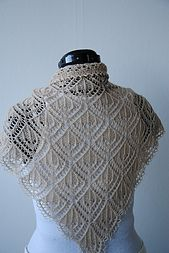 This is a bottom up two-sided lace shawl. The pattern reminds me of small crystal chandeliers. The delicate edging on the sides are made from yarn overs and the top edging is bound off using picot bind-off. The shawl can be repeated for as many times as you like. The sample is knitted with 6 repeats and measures 130x70 cm.