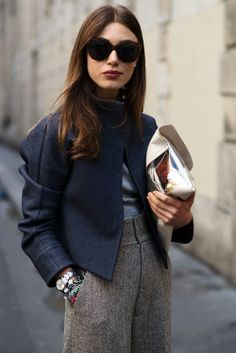 jacket with high-waisted tweed trousers