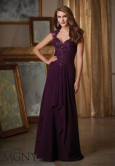 Beaded Lace Appliques on Chiffon Mother of the Bride Dress Designed by Madeline Gardner. Colors available: Eggplant, Slate