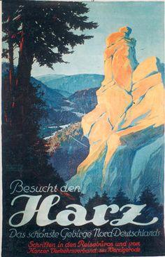 1930s Vintage Railroad Travel Poster Metal Tin Sign Hartz Mountains Germany