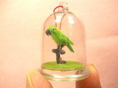 Yellow-naped Amazon Parrot in Dome  Micro Amigurumi Miniature