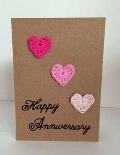 Handmade Card Happy Anniversary 3 Pink Crocheted by heyjude6459
