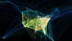 """Flight Patterns,"" real-time shot of aircraft flight patterns over the US. Aaron Koblins 2009 Victoria & Albert Museum 2009,Decode: Digital Design Sensations exhibition"