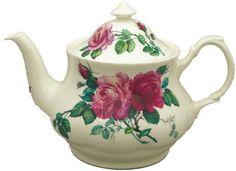 """Beautiful bone china teapot:  """"English Rose"""" pattern by Roy Kirkham"""
