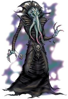 Mind flayer / Illithid -  The mind flayer, also called the illithid, is an evil and sadistic being, humanoid in appearance but with a four-tentacled octopus-like head. These beings are feared throughout the Underdark for their telepathic abilities and usually are not without two or more slaves, mentally bound, to each individual mind flayer.