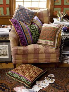 Knitted pillows : Marrakesh Market Pillows  by Kristin Nicholas