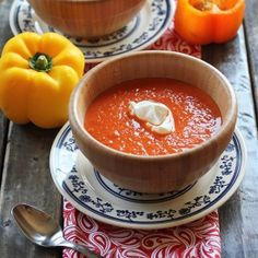 Welcome in fall with a hearty roasted red pepper soup.
