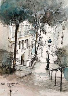 MONTMARTRE rue Chappe Beautiful illustration of Paris You are in the right place about Architecture watercolor modern Montmartre Paris, Paris Rue, Urban Sketchers, Watercolor Drawing, Watercolor Landscape, Watercolor Paintings, Watercolor Trees, Watercolor Portraits, Drawing Drawing