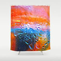 Rainbow drops. Shower Curtain by Mary Berg - $68.00 #showercurtains #society6 #orange #blue #yellow #drops #design #bathroom