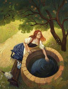 "Ksenia Kareva illustration for ""Tales of the Brothers Grimm"". Isis Goddess, Mother Goddess, Storybook Characters, Brothers Grimm, Grimm Fairy Tales, Fairytale Art, Gods And Goddesses, Art Images, Illustrators"