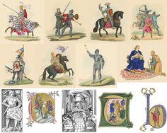Arquivo com 100 ilustrações raras de cavaleiros com armaduras, principalmente medievais, e simbolos ligados ao tema selecionadas a partir de publicações de manuscritos antigos.