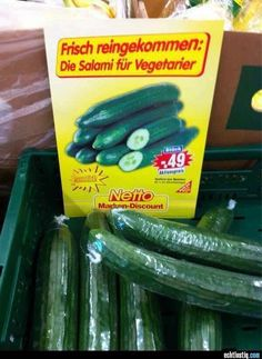 "-- I only took a year of high school German, but I gather this says ""the Salami for vegetarians-- Funny Facts, Funny Quotes, Funny Images, Funny Pictures, Vegan Humor, Good Jokes, Photo Quotes, Really Funny, I Laughed"