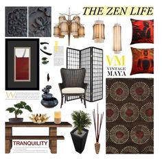 """""""The Zen Life with Vintage Maya"""" by rvgems ❤ liked on Polyvore featuring WALL, Safavieh, Zingz & Thingz, Nearly Natural, Ethan Allen, Varaluz, Crate and Barrel, CB2, Qui est Paul? and vintage"""