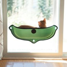 Cat Window Bed with easy mounting, Green --  Half-pod design gives cats easy access to climb in and out Includes a soft, warm, cushy Amazin' Kitty Pad