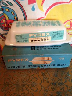Vintage Pyrex Butter Dish in original box. Vintage Kitchenware, Vintage Dishes, Vintage Pyrex, Vintage Glassware, Retro Kitchen Accessories, Pyrex Bowls, Linens And More, Vintage Planters, Cauldron