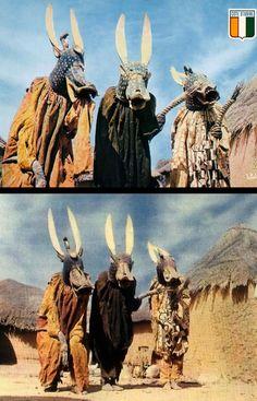 Africa | Senufo masqueraders.  Ivory Coast.  || Vintage postcards; top post stamped 1973.