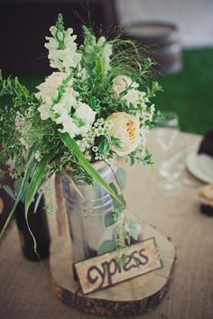 Beautiful, natural, organic wedding flower arrangement