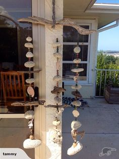 driftwood and shells Driftwood Ideas, Wind Chimes, Shells, Outdoor Decor, Home Decor, Conch Shells, Decoration Home, Room Decor, Clams
