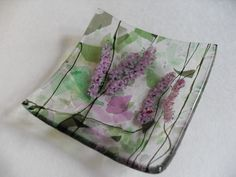 Pink Hyacinth  flowers fused glass mini dish