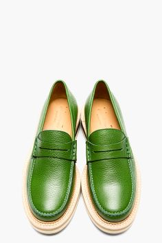 GIULIANO FUJIWARA GREEN Grained Leather Penny LOAFERS