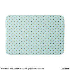 Blue Mint and Gold Chic Dots Bath Mats