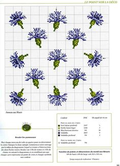 cross stitch De fil en aiguille No. 18 blue flowers with colour key