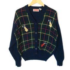 Golf Bags Plaid Men's Golf Cardigan Ugly Sweater Sweater Shop, Ugly Sweater, Golf Sweaters, Mens Golf, Golf Bags, Being Ugly, Plaid, Blazer, Polyvore