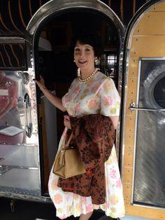 Ginger visiting an Art Deco style trailer!  Murphy Museum Mad Men vintage car event. Oxnard, Ca