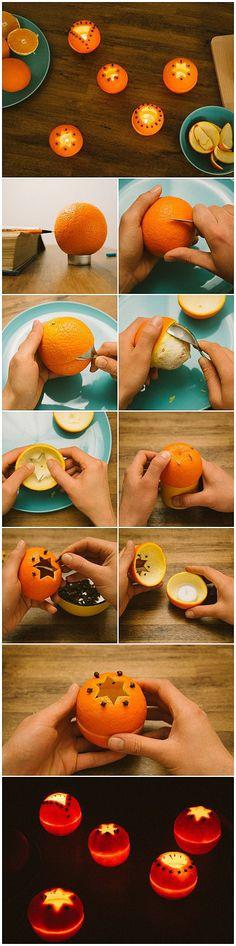 Фигурные подсвечники из мандарина+гвоздика