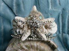 Vintage Rhinestone Seashell Tiara Beach Wedding