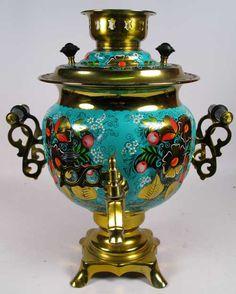blue russian samovar (water boiler for tea)