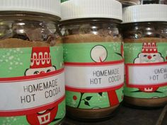 Homemade hot cocoa packaging with vintage wrapping paper and hand stamped labels.