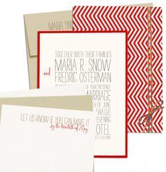 love the chevron stripe and simple elegance of these #invitations #chevron