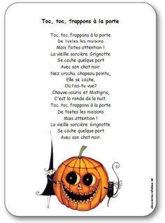 Comptine Toc toc frappons à la porte Halloween Poems, Theme Halloween, Halloween Carnival, Halloween 2018, Halloween Kids, Halloween Crafts, Happy Halloween, Halloween Decorations, French Poems