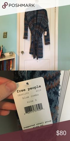NWT Free People long sweater Super cozy sweater with tie at waist! Very warm! Free People Sweaters Cardigans