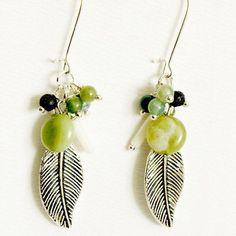 Green Dangle Cluster Earrings-Silver by SaraBernhartJewelry