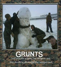 God has a sense of humor too; and he loves the Misguided Children most of all. Military Jokes, Army Humor, Military Mom, Usmc, Marines, Marine Corps Humor, Marine Mom, Seriously Funny, Funny Photos