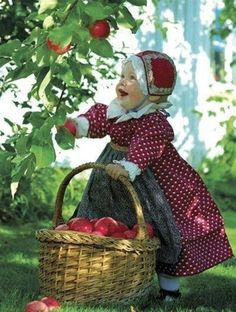 little red riding hood picking apples