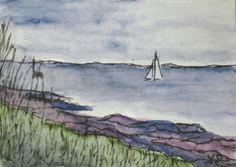 Maine Seascape Watercolor Painting of Two by kathleendaughan, $12.00