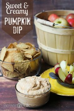 Sweet and creamy pumpkin dip recipe - perfect for dipping fruit or cinnamon-sugar chips! #ad