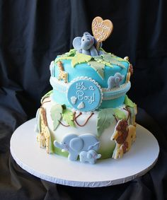 46 ideas baby shower cake for boys birthday Safari Baby Shower Cake, Baby Shower Cakes For Boys, Baby Boy Cakes, Baby Shower Themes, Baby Boy Shower, Shower Ideas, Jungle Theme Cakes, Safari Cakes, Fancy Cakes