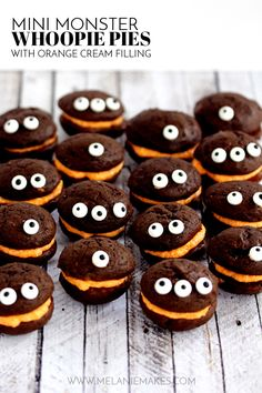 Mini Monster Chocolate Whoopie Pies with Orange Cream Filling. These Mini Monster Chocolate Whoopie Pies with Orange Cream Filling couldn't be easier to create. You'll never guess what the secret ingredient for both components for this recipe is. Halloween Desserts, Halloween Party Treats, Halloween Food For Party, Halloween Cookies, Holiday Treats, Holiday Recipes, Halloween Dishes, Cupcakes, Cupcake Cakes