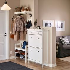HEMNES Shoe cabinet with 2 compartments IKEA Helps you organize your shoes and saves floor space at the same time. HEMNES Shoe cabinet with 2 compartments IKEA Helps you organize your shoes and saves floor space at the same time. Ikea Hallway, Hallway Shoe Storage, Ikea Entryway, Hallway Furniture, Bench With Shoe Storage, Entryway Ideas, Furniture Ideas, Shoe Cabinet Entryway, Ikea Shoe Storage