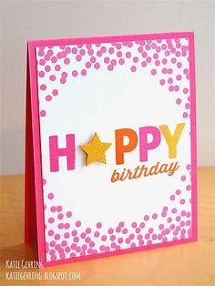 handmade birthday card ... die cut HAPPY with star at the A ... festive hot pink with lots of dots around the edges ...