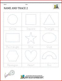 Printable Shape Worksheets Name and Trace Sheet 2